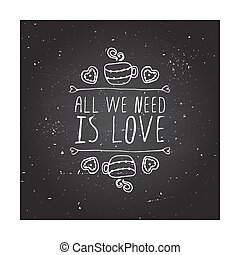 Vector handdrawn badge for Saint Valentines day - Saint...
