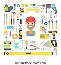 Construction equipment tools flat icons set. Flat style...