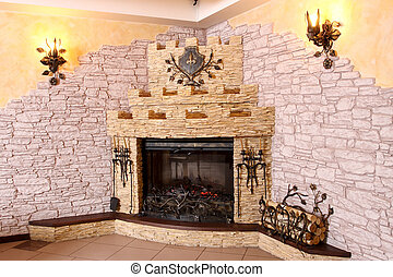 fireplace - Spacious hall with the big fireplace