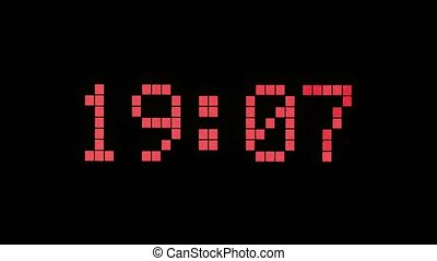 Digital time countdown - Digital time display with dot...