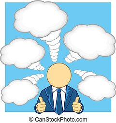 businessman thumb up and thinking - vector illustration of...