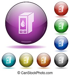 Ink cartridge glass sphere buttons - Set of color Ink...