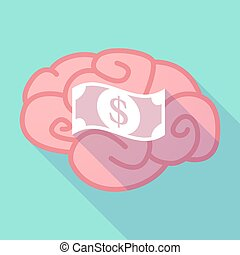 Long shadow brain with a dollar bank note - Illustration of...