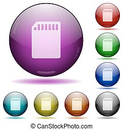 SD card glass sphere buttons - Set of color SD memory card...