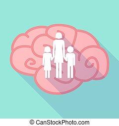 largo, sombra, cerebro, con, Un, hembra, solo, padre,...