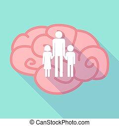 largo, sombra, cerebro, con, Un, macho, solo, padre,...