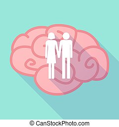 Long shadow brain with a heterosexual couple pictogram -...
