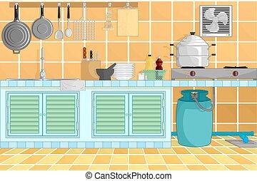 kitchen interior background with kitchenware vector...