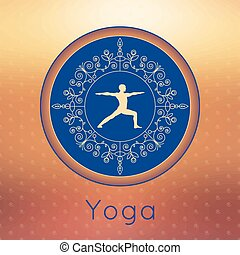 Yoga poster with yogi silhouette - Vector yoga illustration...