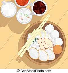 fish ball noodle and roast pork without soup - vector of...