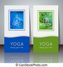 Yoga cards yogi silhouette - Vector yoga illustration Yoga...