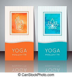 Yoga cards. - Vector yoga illustration. Yoga cards with...
