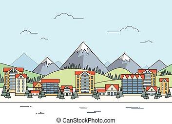 Village Winter Landscape Houses City Mountain
