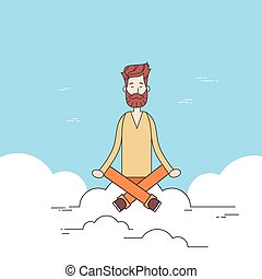 Man Beard Sitting On Cloud Mediation Yoga Lotus Pose Hipster...