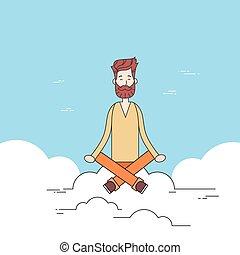 Man Beard Sitting On Cloud Mediation Yoga Lotus Pose Hipster...