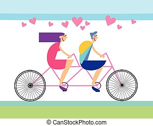 Couple Love Ride Tandem Bicycle Heart Shape Vector...