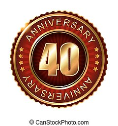 40 myears anniversary golden label Vector illustration