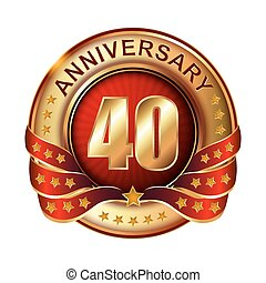 40 Anniversary golden label with ribbon Vector illustration...