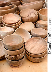 wooden plates for sale at the market