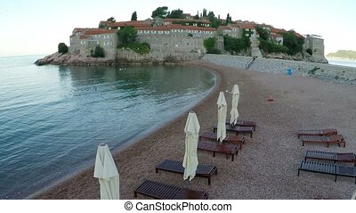 Flying over the Sveti Stefan - Flying over the island of...