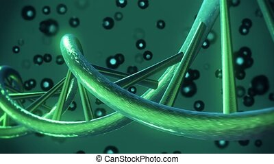 DNA helix in dark green color