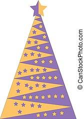 Yellow and purple Christmas tree