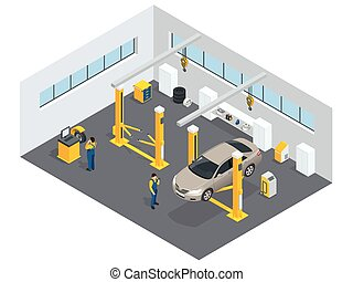 Auto mechanic service Service station Flat icons of...