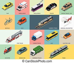 Flat 3d isometric city transport icon set taxi, Ambulance,...
