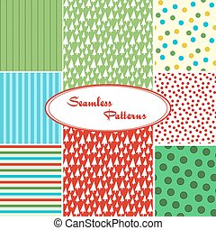 Set of sweet seamless vector patterns in bright colors....