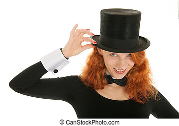 Woman dressed for party - Poetrait woman as dandy with black...