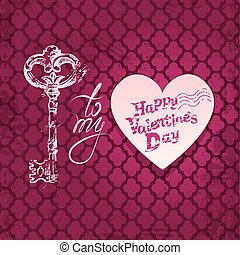 Vintage card with old key in grunge style, heart and calligraphic text, on pink background. Happy Valentines Day retro design.