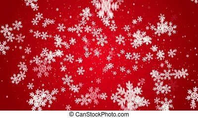 White snow flakes falling on red