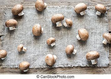 Brown champignon mushrooms on the canvas - Brown champignon...