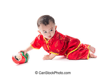 Cute Asian baby in traditional Chinese suit Isolated on...