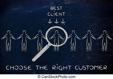 person in a crowd with magnifying glass & text Choose the right customer