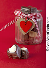 Chocolate in jar. Valentines day concept