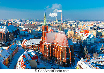 Aerial view of Wroclaw in the winter morning - Aerial view...