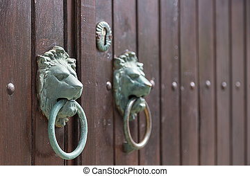 doorknobs retro lion wooden door