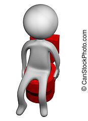 3D, hombre, en, el, servicio, asiento,