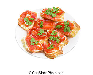 Sandwiches made with baguette, butter and salted trout -...