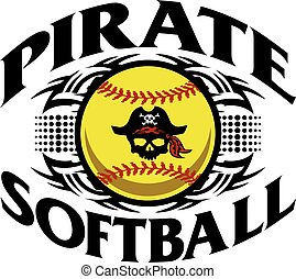 pirate softball - tribal pirate softball team design for...