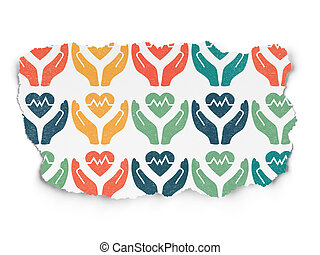 Insurance concept: Heart And Palm icons on Torn Paper...