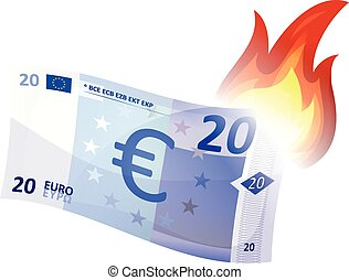 Euro Bill Burning - Illustration of a cartoon euro bill...