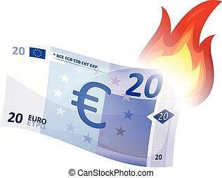 Euro Bill Burning - Illustration of a cartoon euro bill...