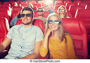 happy friends watching movie in 3d theater - cinema,...