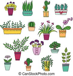 Cute hand drawn vector flowers in the pots. - Cute hand...