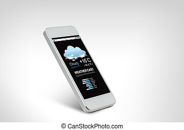 white smarthphone with weather forecast on screen -...