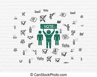Politics concept: Election Campaign on wall background -...