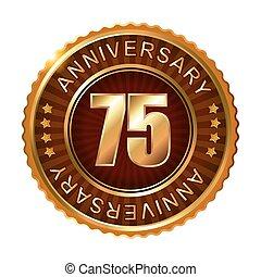 75 years anniversary golden brown label. Vector...