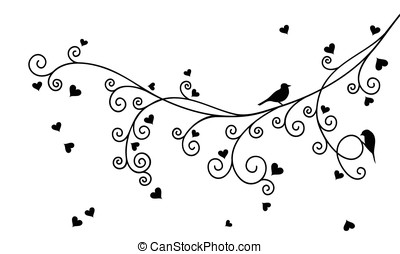 Curly Valentine tree branch - Vector illustration of...